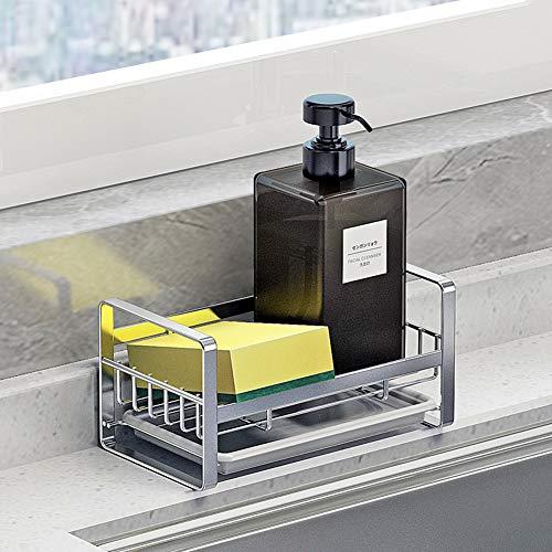 Soporte para esponja de cocina, organizador para fregadero de cocina, bandeja para fregadero, soporte para jabón, acero inoxidable SUS304, color plateado