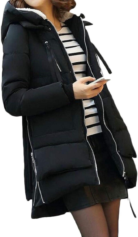 LKCENCA Women's Hoodie Loose Fit Mid Long Front Zipper Down Jacket Coat