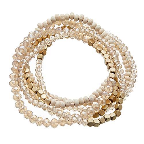 Ensemble de six bracelets extensibles avec perles en bois, plaqué or mat et verre - Jaxi par Bello London