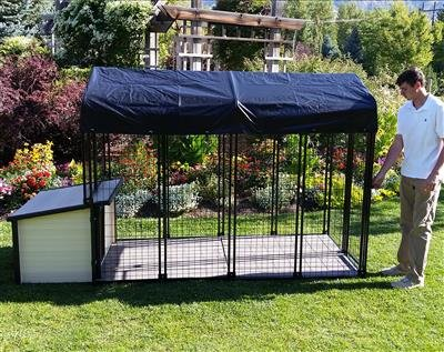 Cove Products K9 Condo 4' X 8' Dog Run with K9 Cabin Dog House Combination-Complete