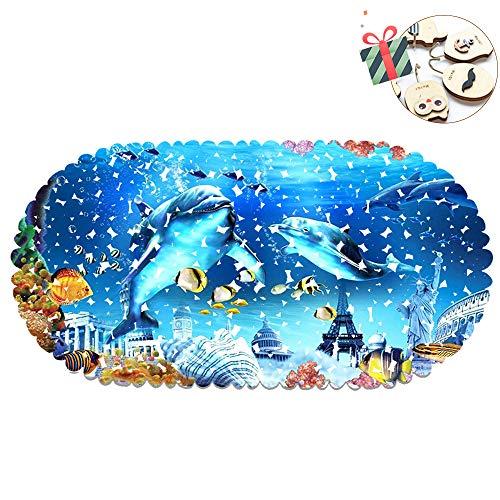 Chickwin Alfombrilla de Baño Antideslizante para Ducha o Bañera, Reino del Océano 3D Impresión Alfombrilla Estera con Ventosas Fuertes Antibacterial Duradera Antideslizante (70 x 35 cm,Delfín)