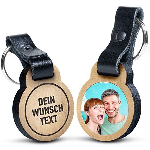 Premium Schlüsselanhänger aus Eichenholz mit kratzfestem Foto und Wunschtext Gravur - Geschenkidee für Muttertag, Vatertag
