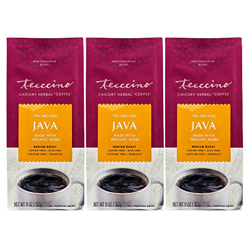 Teeccino Chicory Coffee Alternative - Java - Ground Herbal Coffee That's Prebiotic, Caffeine Free & Acid Free, Medium Roast, 11 Ounce (Pack of 3)