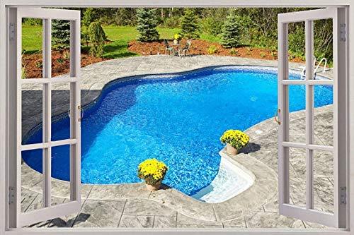 3D Venster Weergave Muurstickers Zwembad Muursticker Frame muurschildering Huisdecoratie Slaapkamer Woonkamer Keuken 80x120cm