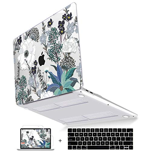 Mektron Laptop Case for MacBook Pro 13' (2019/2018/2017/2016 Version) Plastic Hard Shell Cover A2159/A1989/A1706/A1708 Touch Bar with Keyboard Cover & Screen Protector, Retro Florals