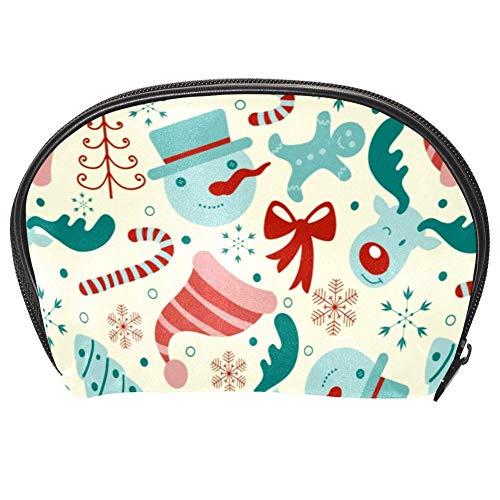 Bennigiry, borsa per cosmetici natalizia, con stampa senza cuciture, kit da viaggio con cerniera multifunzione