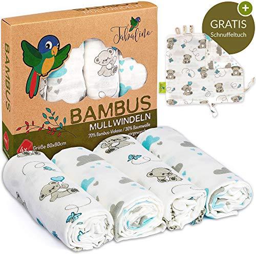 Tabalino Traumhaft Weiche Bambus Mullwindeln Spucktücher für dein Baby 80x80cm 4er-Pack mit Schmusetuch Mulltücher Junge blau hellblau Stoffwindeln aus Musselin Schnuffeltuch Baumwolle