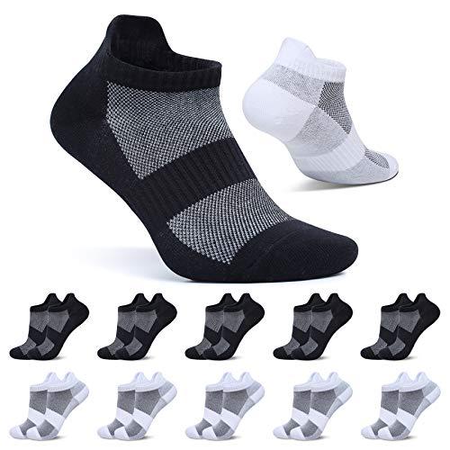 FALARY Kurze Socken Damen 39-42 Sneaker Socken Herren Sportsocken Schwarz Weiß 10 Paar Baumwolle Atmungsaktive Laufsocken Unisex