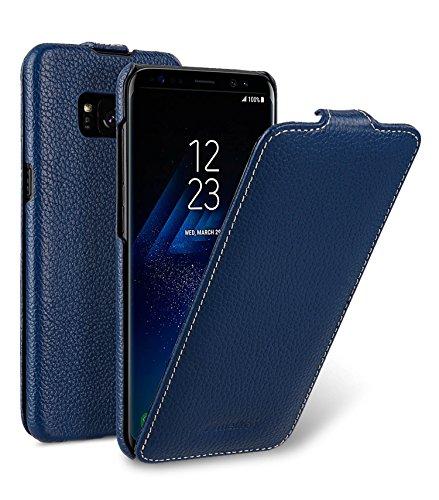MELCKO Edle Tasche für Samsung Galaxy S8 / SM-G950 (5,8 Zoll / 14,65 cm), Case Außenseite aus beschichtetem Leder, Schutz-Hülle aufklappbar, ultra-slim Flip-Case, Cover, Etui, Blau