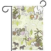 ガーデンサイン庭の装飾屋外バナー垂直旗面白い漫画動物のアフリカ オールシーズンダブルレイヤー