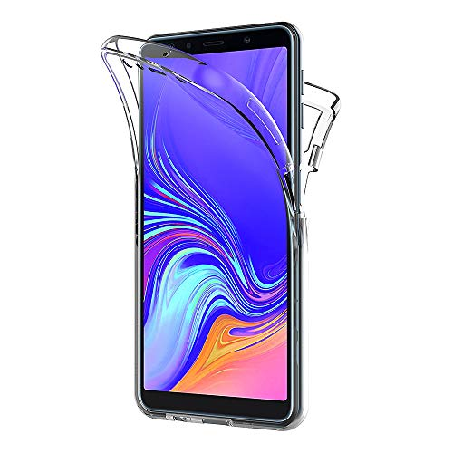 AICEK Samsung Galaxy A7 2018 Hülle, 360°Full Body Transparent Silikon Schutzhülle für Samsung A7 2018 Hülle Durchsichtige TPU Bumper Galaxy A7 2018 Handyhülle (6,0 Zoll)