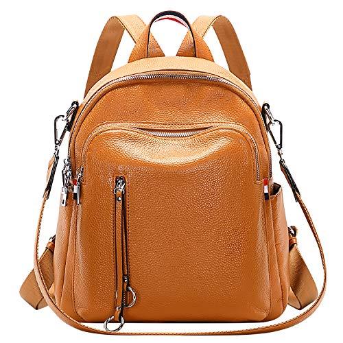 ALTOSY Echtes Leder Rucksack Damen Elegant Schultertasche Frauen Mode Casual Daypack (S9, Orange)