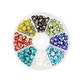 OLYCRAFT 240Trozos Millefiori Lampwork Beads 8-Color 8mm Millefiori Beads Glass Spacer Cuentas Sueltas para Hacer Joyas Y Decoración del Hogar