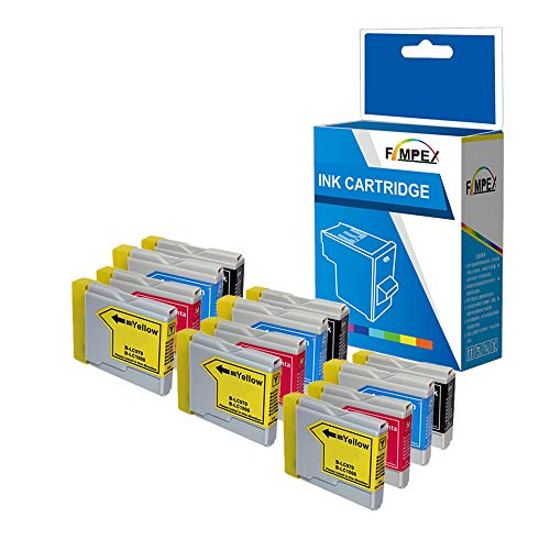 Fimpex Compatible Tinta Cartucho reemplazo para Brother DCP-135C DCP-150C DCP-153C DCP-157C DCP-750CN MFC-235C MFC-260C DCP-130C DCP-330C DCP-350C DCP-353C DCP-357C LC970/1000 (B/C/M/Y, 12-Pack)