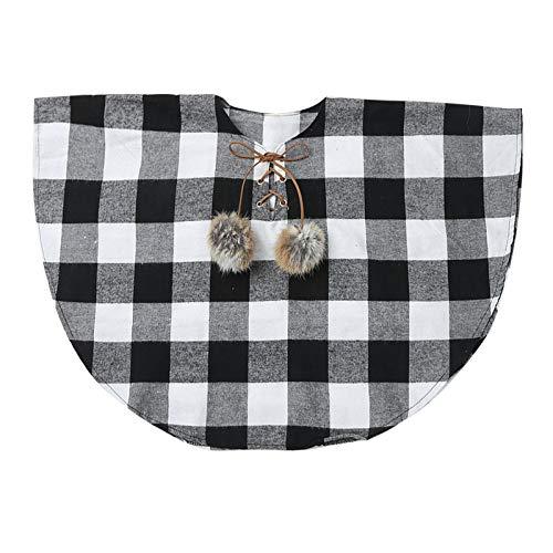 TiaoBug Camisas y Blusa Manga Corta de Cuadros Camiseta Algodón Verano Cuello Redondo para Niñas 1-6 años Blanco&Negro 5-6 años