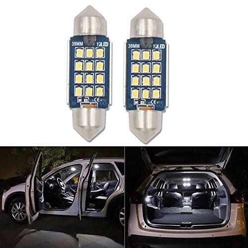 HSUN C5W 39MM LED Ampoule 12V-24V Extrêmement Lumineuse CANBUS 12-SMD2016 LED Plaque Ampoule Festons navette plafonnier Veilleuse voiture lumiere Xenon Blanc 6000K