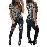KaloryWee Camiseta para Mujer Moda Camisa de Manga Corta Blusa Casual Delgada Camuflaje Tops de Impresión, Camiseta para Mujer