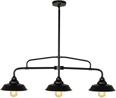 PUZHI HOME Black Kitchen Island Light 3-Light Farmhouse Pendant Lighting with Metal Shades, Adjustable Hanging Height, Baking Paint Finish for Kitchen Dinning Room Farmhouse