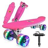 Cutemelo Skateboards 55cm Mini Cruiser Skateboard Completo retrò per Ragazzo, Ragazza, Giovani, Adulti, Principianti con Ruote LED Lampeggianti, con Strumento T (Rosa)
