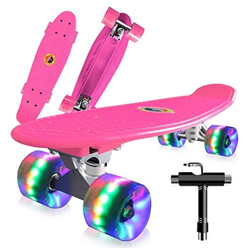 Saramond Skateboards Komplette 55cm Mini Cruiser Retro Skateboard für Kinder Teens Erwachsene Anfänger, Bunte LED-Räder mit All-in-One Skate T-Tool für Schule und Reisen (Rosa)