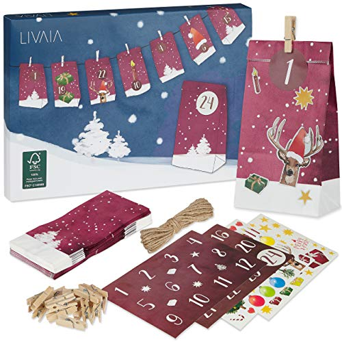Adventskalender zum Befüllen: Schöner Adventskalender zum Selbstbefüllen mit 24 dekorativen Tüten und Zahlen Aufkleber - DIY Adventskalender zum Basteln – 2020 Adventskalender Selber Befüllen LIVAIA