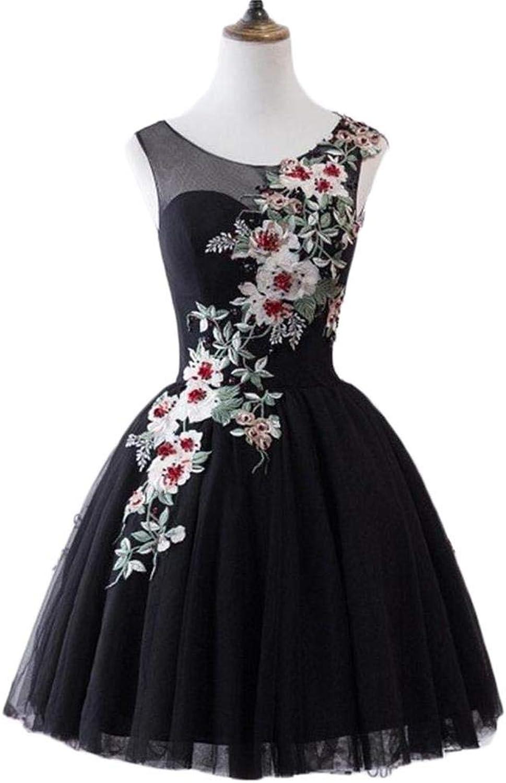 Dydsz Evening Dresses for Women Formal Black Prom Party Dress Floral Gown Plus Size D304