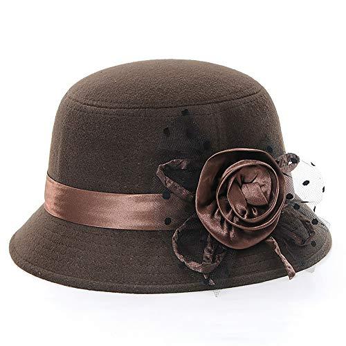 Lamdgbway Fedora Invierno Sombreros Flor Fieltro Cloché Sombrero Bowler Sombreros Café Oscuro
