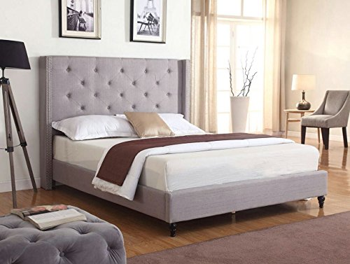 Home Life Premiere Classics Cloth Light Grey Silver Linen 51 Tall Headboard Platform Bed with Slats Full - Complete Bed 5 Year Warranty Included 007