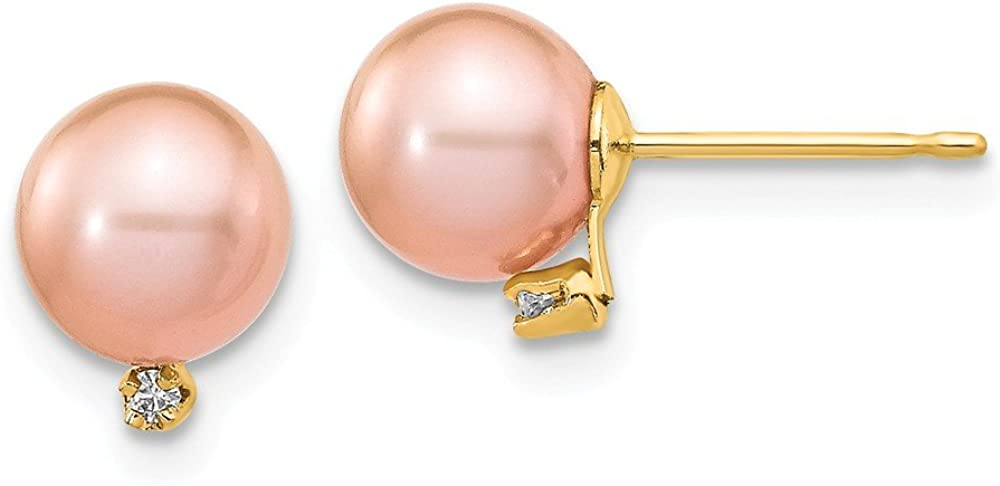 Solid 14k Yellow Gold 5-6mm Pink Round Freshwater Cultured Pearl .02ct Diamond Post Studs Earrings mm