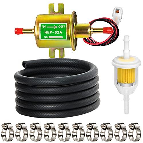 Leadrise Universal Electric Fuel Pump Kit 12V (2.5-4psi) Electric Fuel Pump, 2 Meter/6.56-Foot 5/16'...