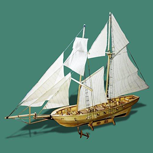 Zantec Modello di nave a vela Assemblaggio di kit di costruzione Modello di nave Giocattoli di legno per barche a vela Harvey Modello di vela Kit di legno assemblato DIY