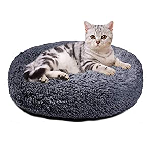 Aurako Pet Bed Dog Bed Pad Cat Round Cushion Comfortable Pillow Ultra Soft Plush Donut Sofa Machine Washable Mat with Waterproof and Anti-Slip Bottom Pet Cuddle Beds for Jumbo Large Medium Dogs Cats