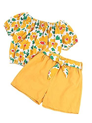 Ropa de bebé niña 's manga de flores volantes Top conbow-knot cinturón pantalones cortos verano conjuntos