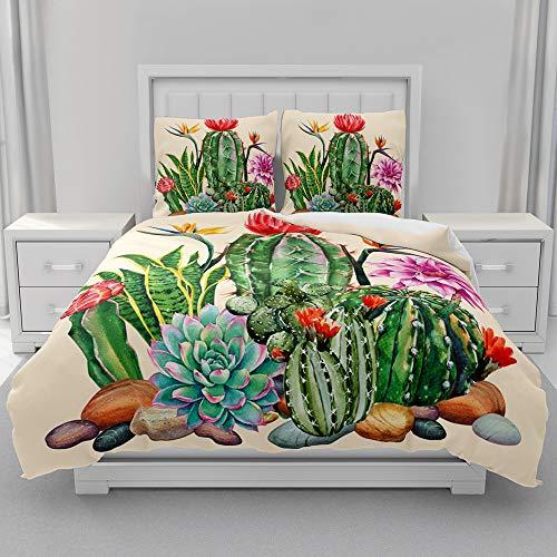 Morbuy Juego de Ropa de Cama 3 Piezas, 3D Juego de Fundas de Edredón Impresión de Cactus, Microfibra Funda Nórdica y 2 Funda de Almohada 80x80cm (Flor de Cactus,180x220cm)