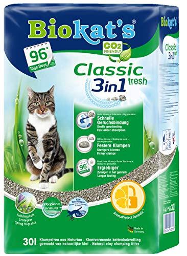 Biokat's Classic fresh 3in1 mit Duft - Klumpende Katzenstreu mit 3 unterschiedlichen Korngrößen - 1 Sack (1 x 30 L)