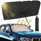 Iduola Car Windshield Sun Shade Umbrella Automotive Interior Sun Protection UV Block Sun Visor Reflector Umbrella Foldable Windshield Sun Shade to Keep Car Cool(54 inch X 31 inch)