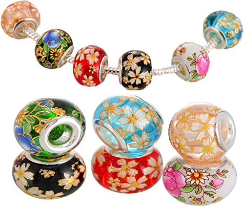 Set of 6 Floral Design Murano Glass Beads Charms for Jewellery Making Bracelets with Gift Box - UK Brand, UK Quality Every Time