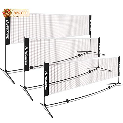 MaxKare Portable Badminton Tennis Volleyball Net Set with Poles Easy Setup Durable Nylon 14FT Net for Adult& Kid's Leisure and Sports Indoor & Outdoor