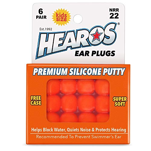 HEAROS Reusable Kids Ear Plugs for Swimming - Floating Silicone Putty, One Size Fits All Mouldable for Ultimate Comfort, Waterproof to Prevent Swimmers Ear, 6 Pairs with Case NRR 22 Hearing Protection