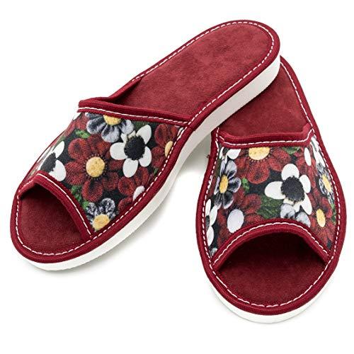 absoft Hausschuhe für Damen 100% Pantoffeln Latschen Slippers Hauslatschen Offene AB-Soft (42 EU, Red)