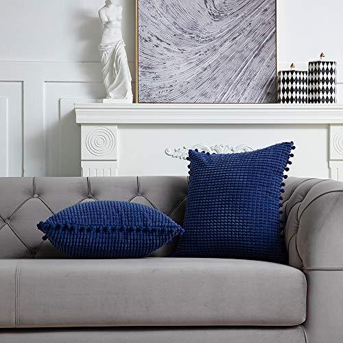 DEZENE 50x50cm Dekorative Kissenbezüge mit Pompons - Navy blau 2er Pack Quadrat Cord Gestreifte Big Corn Kernels Kissenbezüge für Farmhouse Couch Sofa