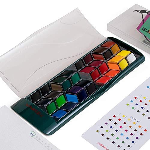 HIMI Watercolor Paint Set, Premium Watercolour Paint Box with 36 Colors Pigment,Watercolor Paper Pad,for Artists, Painting,Professionals, Beginner Painters-Green Case