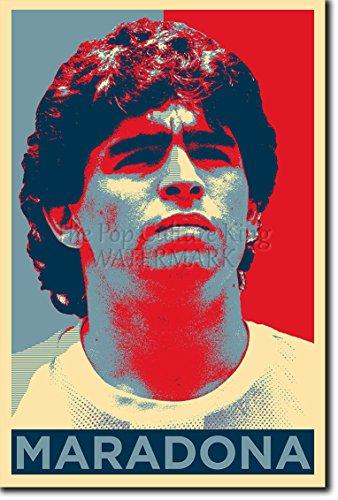 The Pop Culture King Diego Maradona: Stampa Artistica (Parodia di Obama Hope). Poster Fotografico Idea Regalo 30x20cm Cartellone