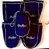 Pack of 5 Crown Royal Purple Bags w/ Gold Drawstring Perfect for Storage Gift Bags Shiftboot Carrying Dice or Games Bulk Felt Fabric for Sewing