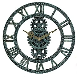 Lily's Home Hanging Wall Clock, Steampunk Gear and Cog Design, Ideal for Indoor or Outdoor Use, Poly-Resin, 12 Inches Diameter (Pewter)
