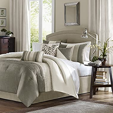 Madison Park Amherst Cal King Size Bed Comforter Set Bed In A Bag - Khaki, Ivory, Pieced Stripes – 7 Pieces Bedding Sets – Ultra Soft Microfiber Bedroom Comforters