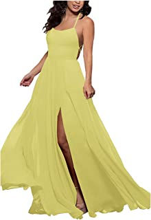 MEET Women's Halter Bridesmaid Dresses Long Chiffon A-Line Side Split Evening Prom Gown with Pockets