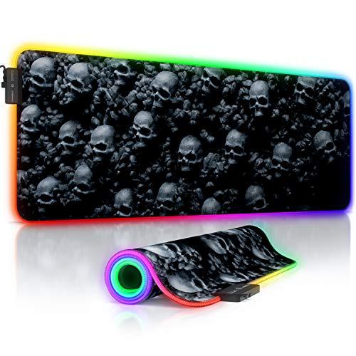 TITANWOLF - Alfombrilla para ratón Gaming RGB - Mouse Pad 800x300 mm - LED Multicolor 7 Colores - 4 Modos de Efectos - Mejora la precisión y la Velocidad - Superficie Inferior de Goma – Motivo Skulls