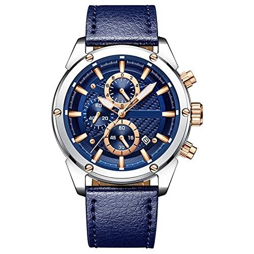 FOGUO Relojes Hombre, Reloj de Cuarzo para Hombre, Relojes de Pulsera Impermeable, Reloj Deportivo Hombre con Correa de Cuero, Cronógrafo para Hombre, Regalo Elegante