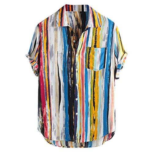 Beikoard Camicia da Uomo Etnica Top a Righe Colorate a Maniche Corte Manica Corta Camicia Casual Top Felpe Cotton Linen(Freestyle,M)